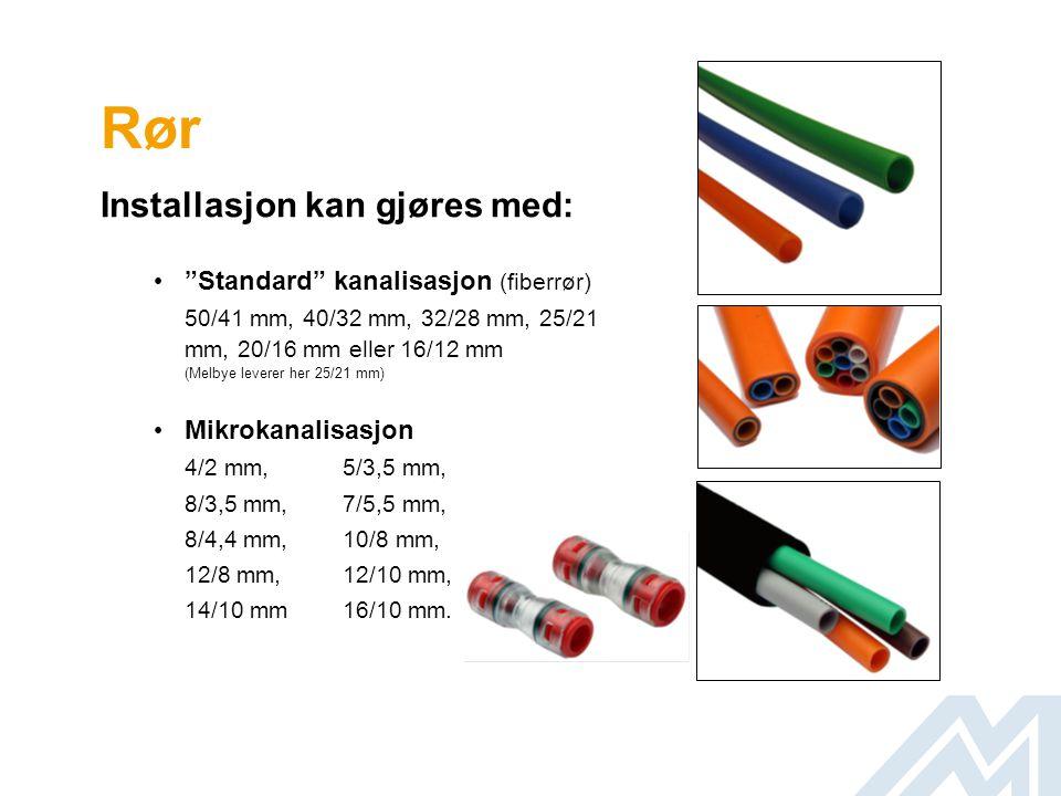 """Rør Installasjon kan gjøres med: • """"Standard"""" kanalisasjon (fiberrør) 50/41 mm, 40/32 mm, 32/28 mm, 25/21 mm, 20/16 mm eller 16/12 mm (Melbye leverer"""