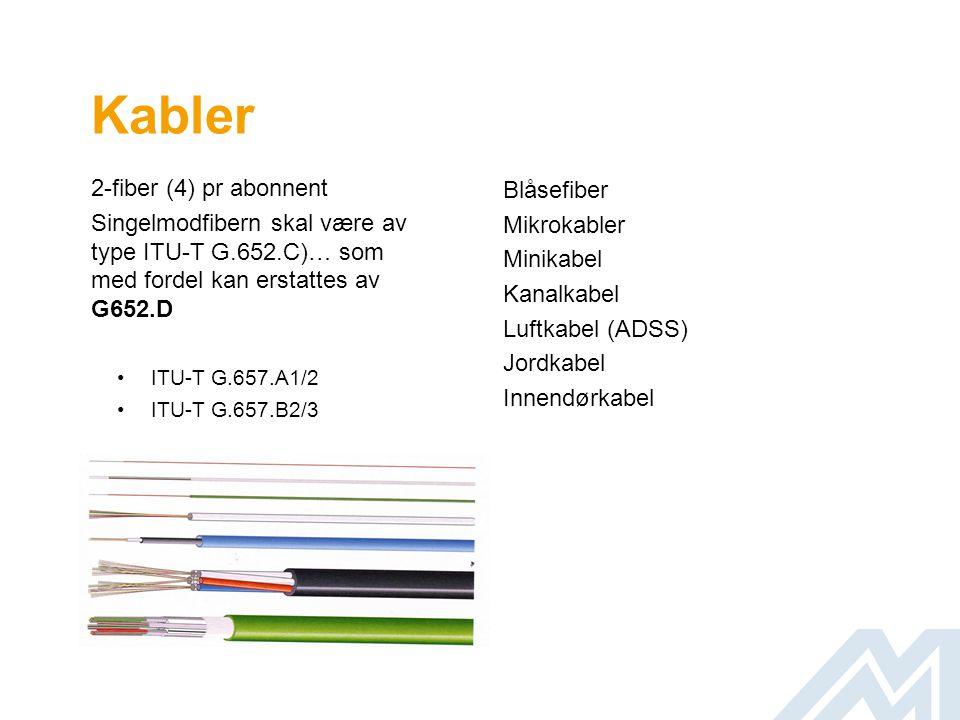 Kabler 2-fiber (4) pr abonnent Singelmodfibern skal være av type ITU-T G.652.C)… som med fordel kan erstattes av G652.D •ITU-T G.657.A1/2 •ITU-T G.657