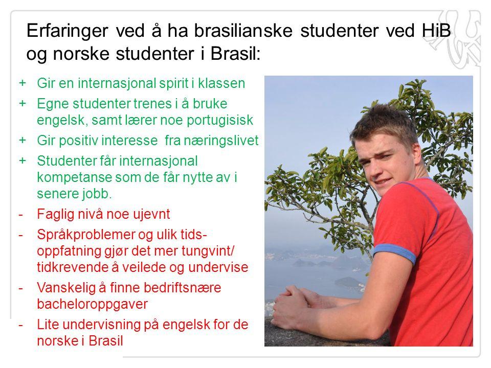 Erfaringer ved å ha brasilianske studenter ved HiB og norske studenter i Brasil: +Gir en internasjonal spirit i klassen +Egne studenter trenes i å bru