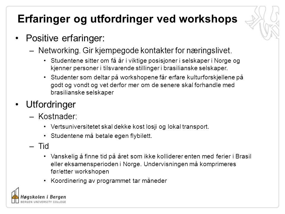 Erfaringer og utfordringer ved workshops •Positive erfaringer: –Networking. Gir kjempegode kontakter for næringslivet. •Studentene sitter om få år i v
