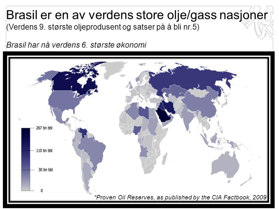 *Proven Oil Reserves, as published by the CIA Factbook, 2009 Brasil er en av verdens store olje/gass nasjoner (Verdens 9. største oljeprodusent og sat