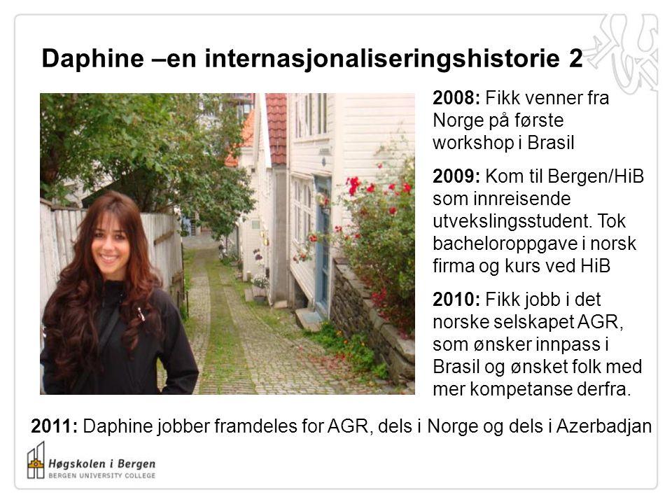Daphine –en internasjonaliseringshistorie 2 2008: Fikk venner fra Norge på første workshop i Brasil 2009: Kom til Bergen/HiB som innreisende utvekslin