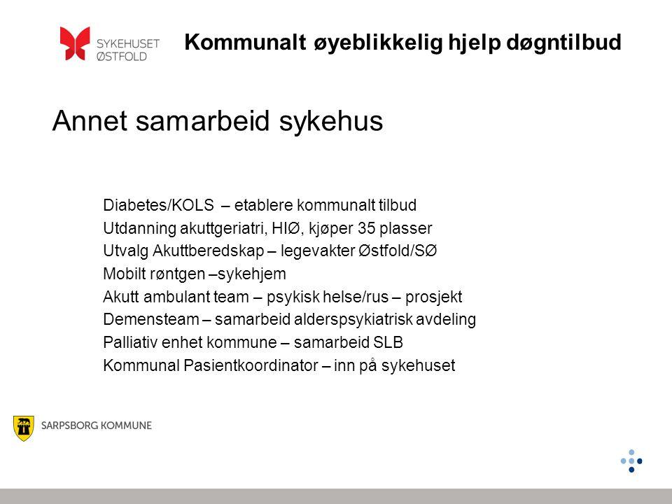 Kommunalt øyeblikkelig hjelp døgntilbud Annet samarbeid sykehus Diabetes/KOLS – etablere kommunalt tilbud Utdanning akuttgeriatri, HIØ, kjøper 35 plas