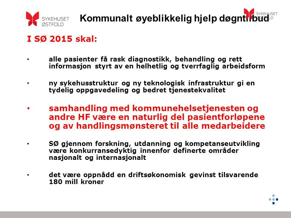 Kommunalt øyeblikkelig hjelp døgntilbud I SØ 2015 skal: • alle pasienter få rask diagnostikk, behandling og rett informasjon styrt av en helhetlig og