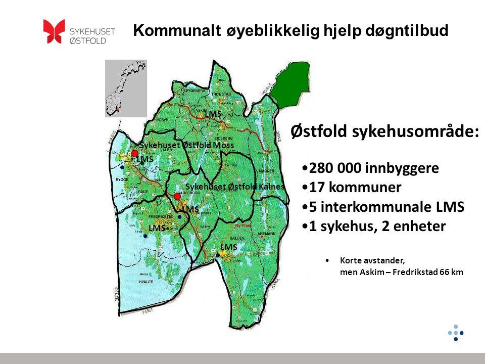 Kommunalt øyeblikkelig hjelp døgntilbud Østfold sykehusområde: Sykehuset Østfold Moss Sykehuset Østfold Kalnes •280 000 innbyggere •17 kommuner •5 int