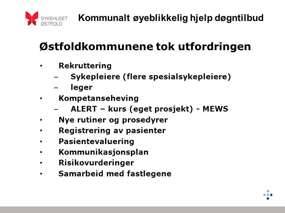 Kommunalt øyeblikkelig hjelp døgntilbud Østfoldkommunene tok utfordringen • Rekruttering – Sykepleiere (flere spesialsykepleiere) – leger • Kompetanse