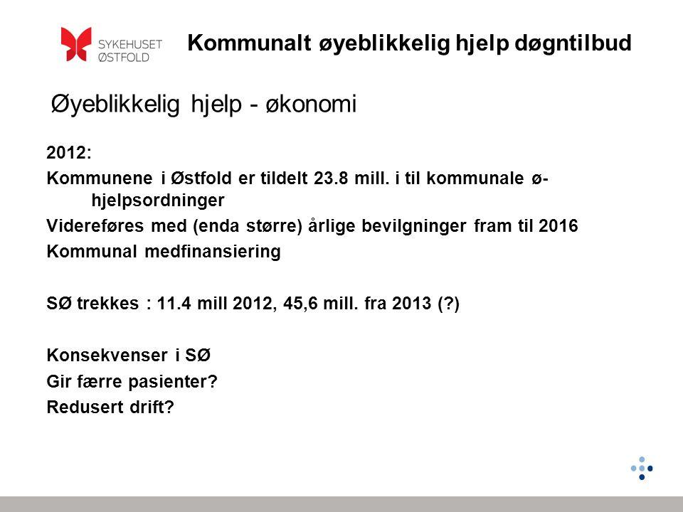 Kommunalt øyeblikkelig hjelp døgntilbud 2012: Kommunene i Østfold er tildelt 23.8 mill. i til kommunale ø- hjelpsordninger Videreføres med (enda størr