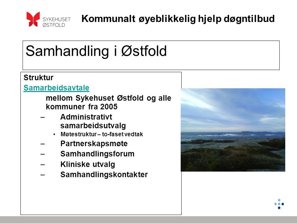 Kommunalt øyeblikkelig hjelp døgntilbud Samhandling i Østfold Struktur Samarbeidsavtale mellom Sykehuset Østfold og alle kommuner fra 2005 –Administra