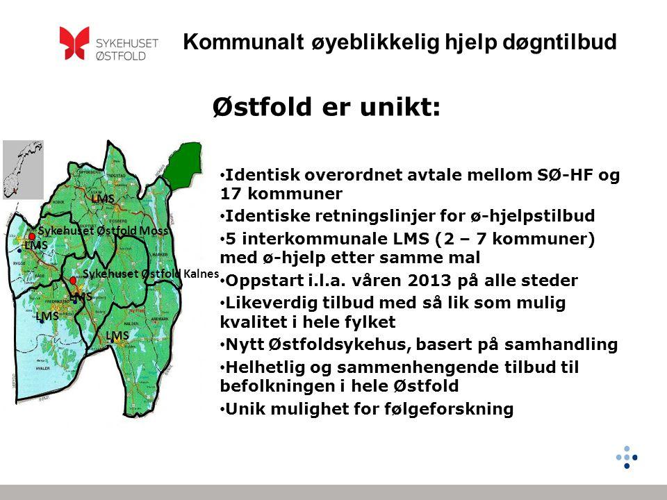 Kommunalt øyeblikkelig hjelp døgntilbud Østfold er unikt: • Identisk overordnet avtale mellom SØ-HF og 17 kommuner • Identiske retningslinjer for ø-hj