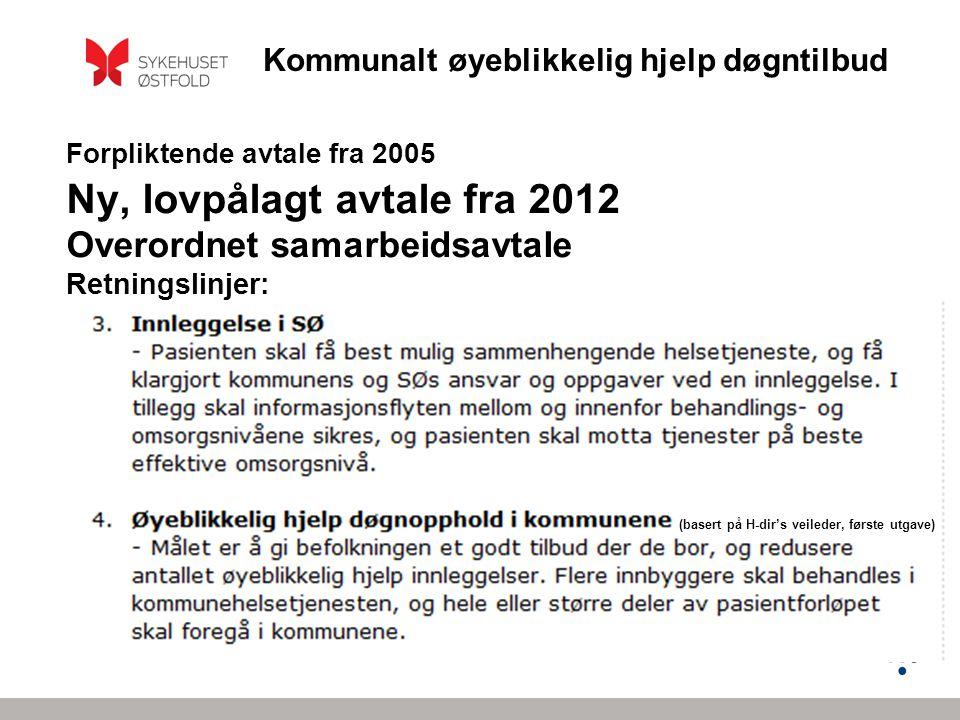 Kommunalt øyeblikkelig hjelp døgntilbud Forpliktende avtale fra 2005 Ny, lovpålagt avtale fra 2012 Overordnet samarbeidsavtale Retningslinjer: (basert