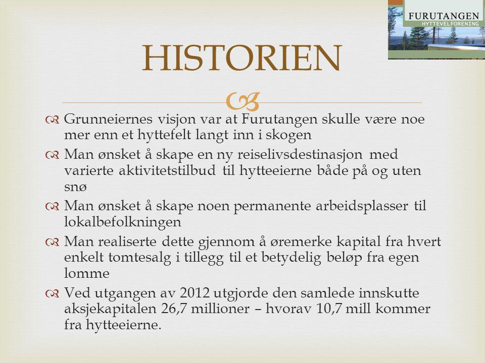   Grunneiernes visjon var at Furutangen skulle være noe mer enn et hyttefelt langt inn i skogen  Man ønsket å skape en ny reiselivsdestinasjon med