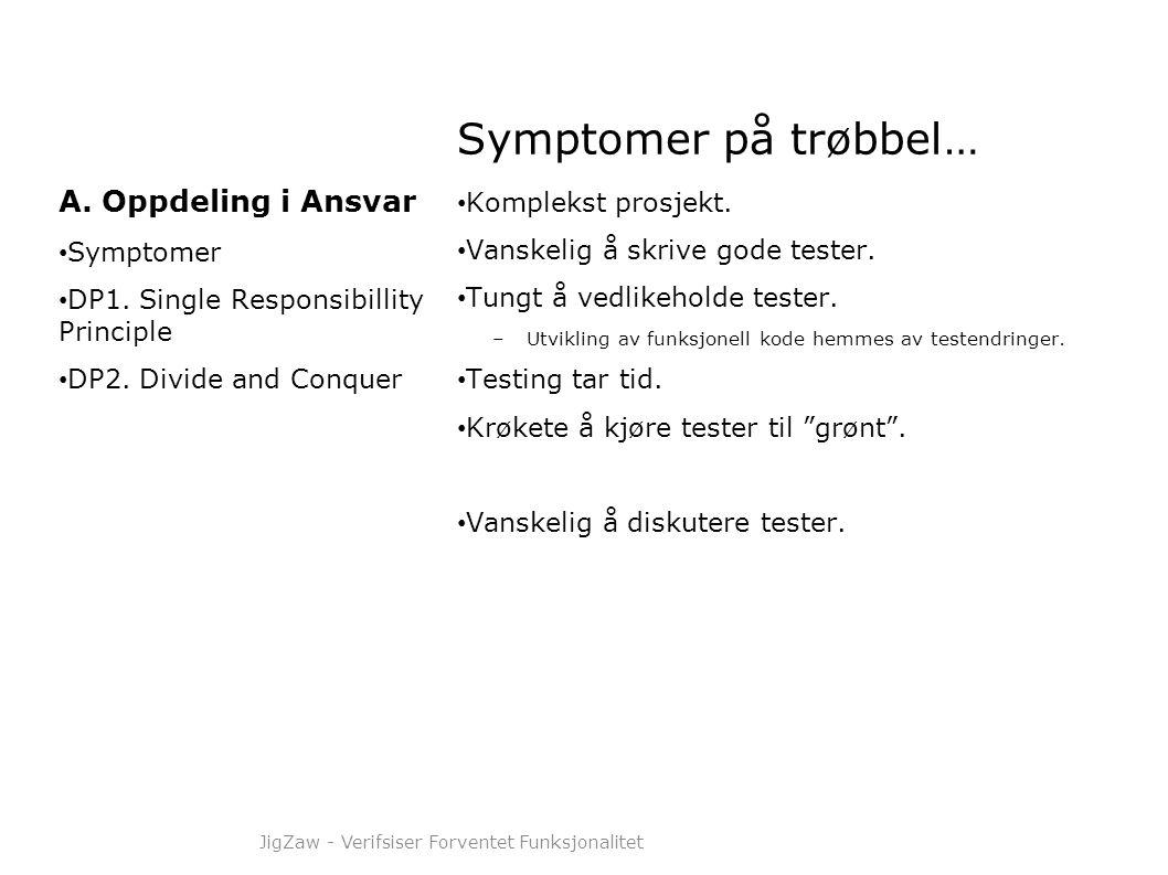 Symptomer på trøbbel… • Komplekst prosjekt. • Vanskelig å skrive gode tester. • Tungt å vedlikeholde tester. –Utvikling av funksjonell kode hemmes av
