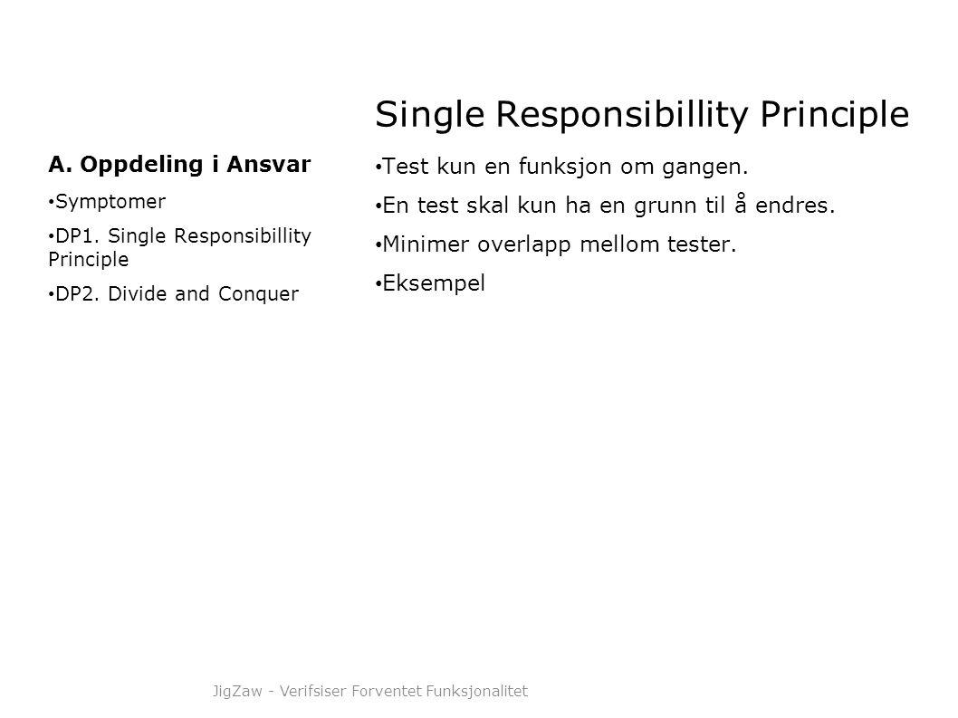 Single Responsibillity Principle • Test kun en funksjon om gangen. • En test skal kun ha en grunn til å endres. • Minimer overlapp mellom tester. • Ek