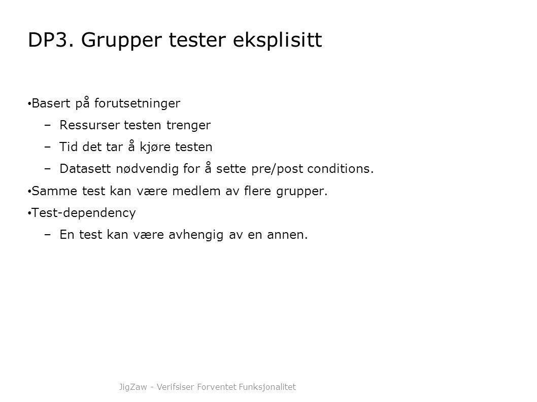 DP3. Grupper tester eksplisitt • Basert på forutsetninger –Ressurser testen trenger –Tid det tar å kjøre testen –Datasett nødvendig for å sette pre/po