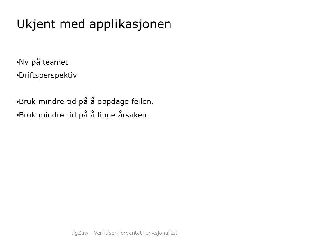 Ukjent med applikasjonen • Ny på teamet • Driftsperspektiv • Bruk mindre tid på å oppdage feilen. • Bruk mindre tid på å finne årsaken. JigZaw - Verif