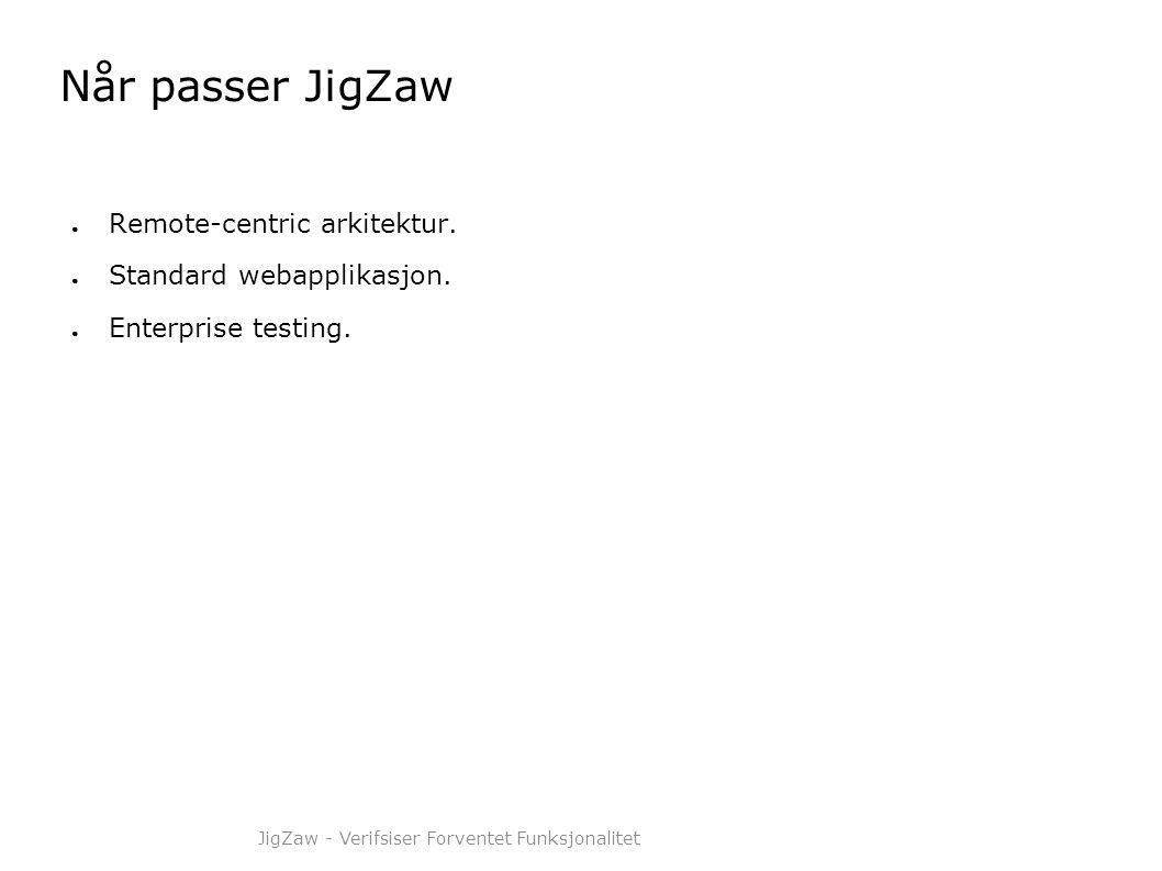 Når passer JigZaw ● Remote-centric arkitektur. ● Standard webapplikasjon. ● Enterprise testing. JigZaw - Verifsiser Forventet Funksjonalitet