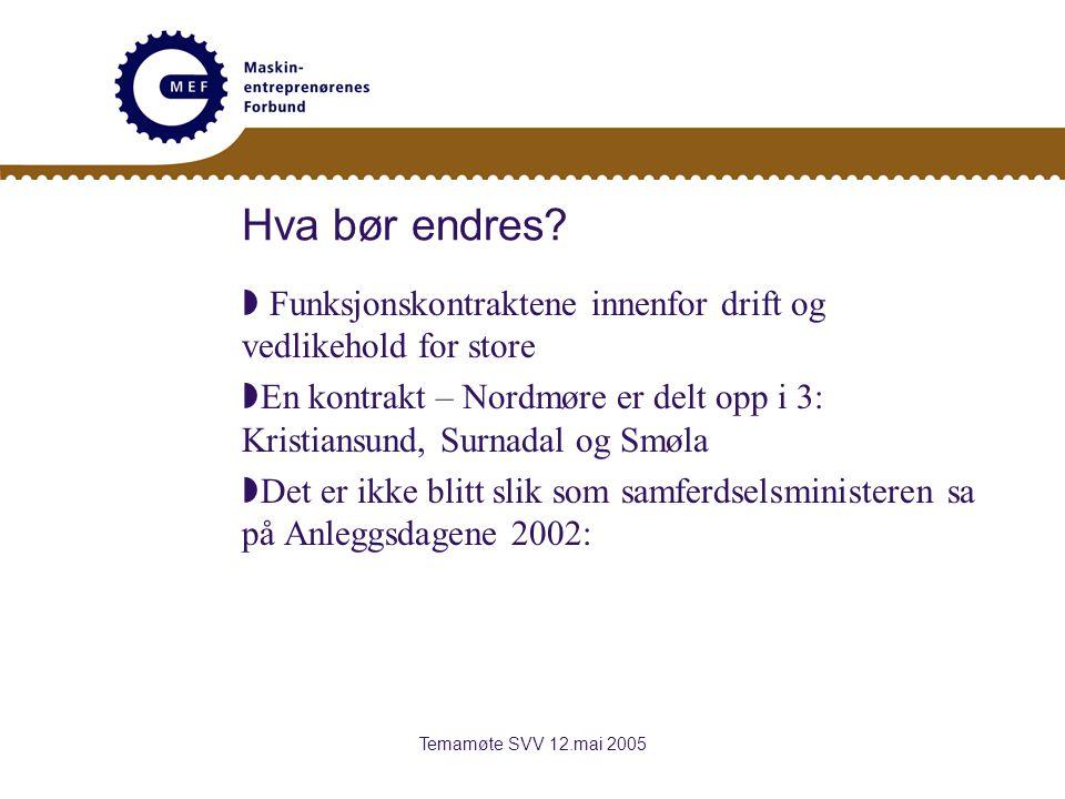 Temamøte SVV 12.mai 2005 Hva bør endres.