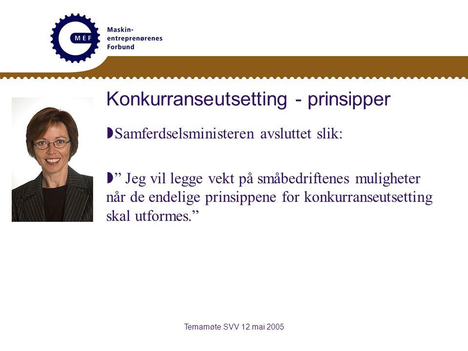 Temamøte SVV 12.mai 2005 Konkurranseutsetting - prinsipper  Samferdselsministeren avsluttet slik:  Jeg vil legge vekt på småbedriftenes muligheter når de endelige prinsippene for konkurranseutsetting skal utformes.