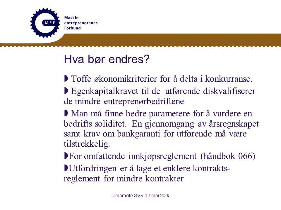 Temamøte SVV 12.mai 2005 Hva bør endres.  Tøffe økonomikriterier for å delta i konkurranse.