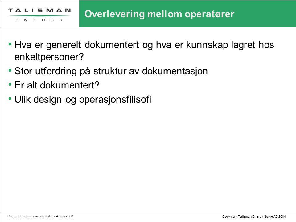 Copyright Talisman Energy Norge AS 2004 Ptil seminar om brønnsikkerhet - 4. mai 2006 Overlevering mellom operatører • Hva er generelt dokumentert og h