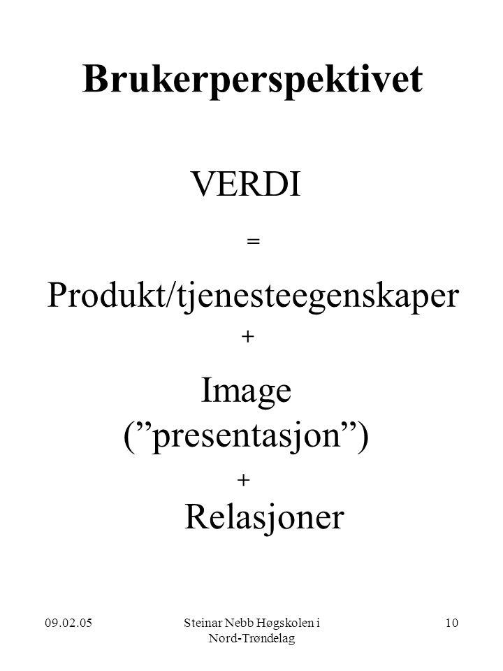 09.02.05Steinar Nebb Høgskolen i Nord-Trøndelag 10 Brukerperspektivet VERDI = Produkt/tjenesteegenskaper + + Image ( presentasjon ) Relasjoner