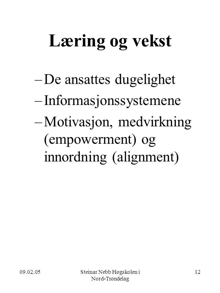 09.02.05Steinar Nebb Høgskolen i Nord-Trøndelag 12 Læring og vekst –De ansattes dugelighet –Informasjonssystemene –Motivasjon, medvirkning (empowermen