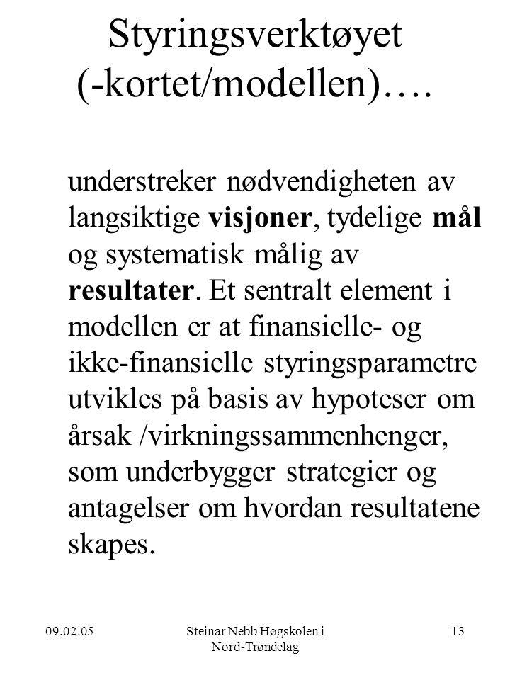 09.02.05Steinar Nebb Høgskolen i Nord-Trøndelag 13 Styringsverktøyet (-kortet/modellen)…. understreker nødvendigheten av langsiktige visjoner, tydelig