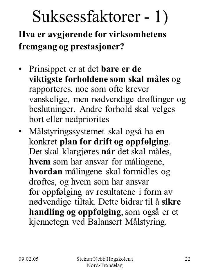 09.02.05Steinar Nebb Høgskolen i Nord-Trøndelag 22 Suksessfaktorer - 1) Hva er avgjørende for virksomhetens fremgang og prestasjoner? •Prinsippet er a