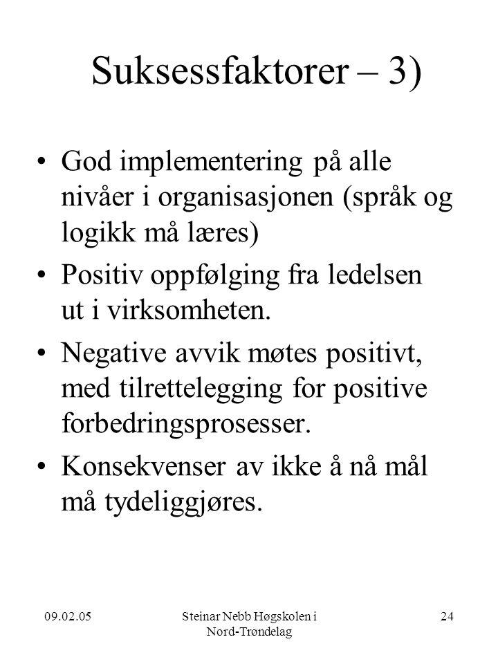 09.02.05Steinar Nebb Høgskolen i Nord-Trøndelag 24 Suksessfaktorer – 3) •God implementering på alle nivåer i organisasjonen (språk og logikk må læres) •Positiv oppfølging fra ledelsen ut i virksomheten.