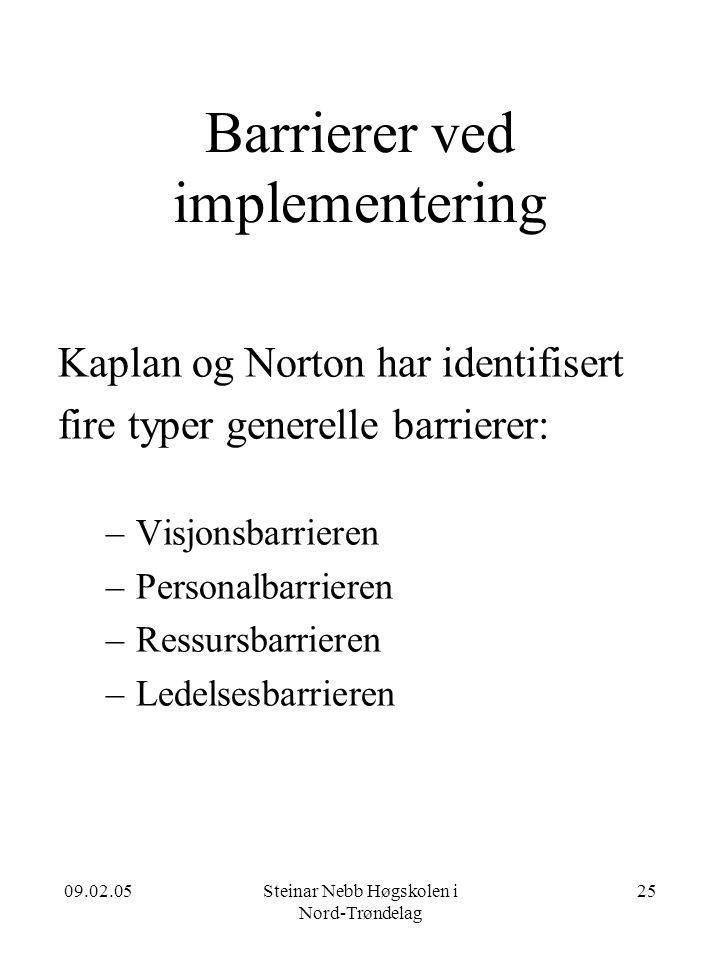 09.02.05Steinar Nebb Høgskolen i Nord-Trøndelag 25 Barrierer ved implementering Kaplan og Norton har identifisert fire typer generelle barrierer: –Visjonsbarrieren –Personalbarrieren –Ressursbarrieren –Ledelsesbarrieren