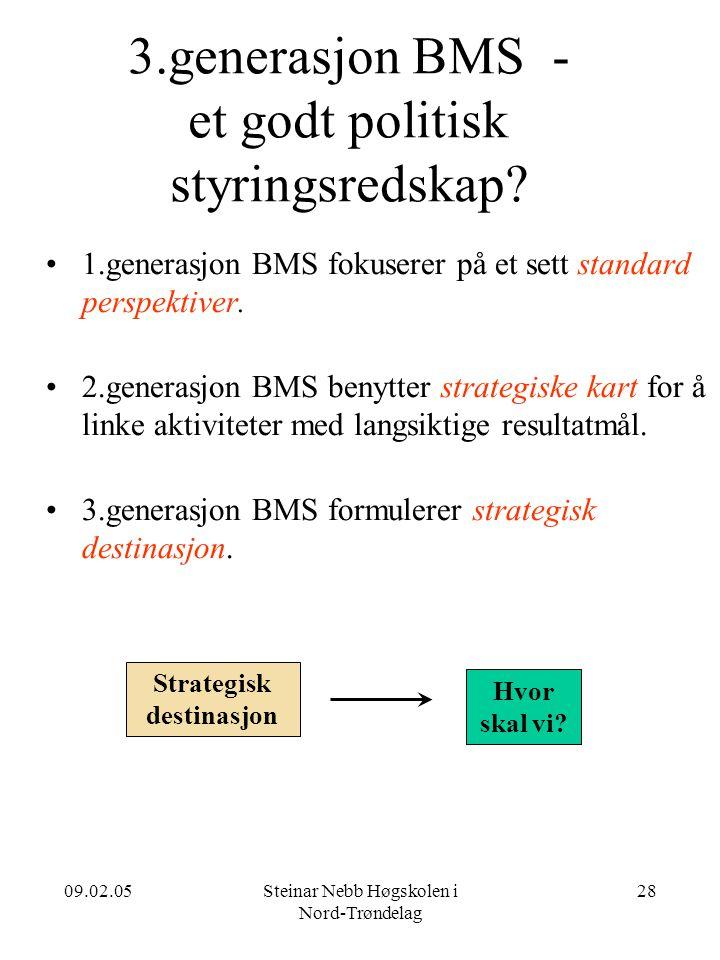 09.02.05Steinar Nebb Høgskolen i Nord-Trøndelag 28 3.generasjon BMS - et godt politisk styringsredskap? •1.generasjon BMS fokuserer på et sett standar