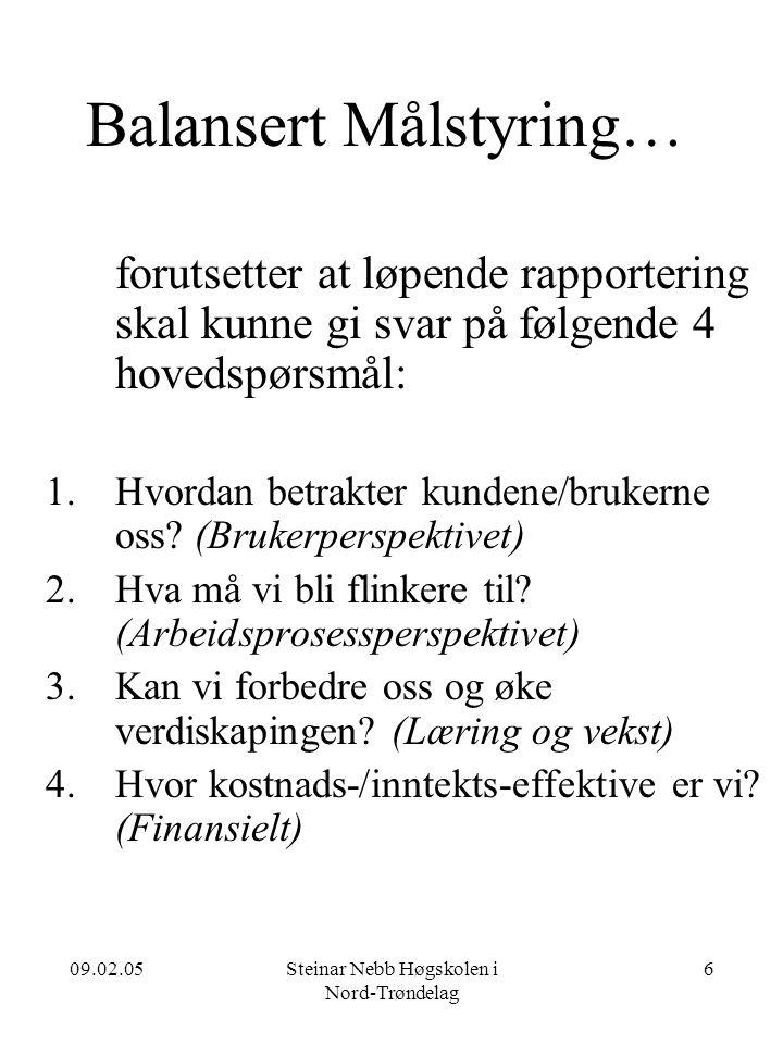 09.02.05Steinar Nebb Høgskolen i Nord-Trøndelag 6 Balansert Målstyring… forutsetter at løpende rapportering skal kunne gi svar på følgende 4 hovedspørsmål: 1.Hvordan betrakter kundene/brukerne oss.