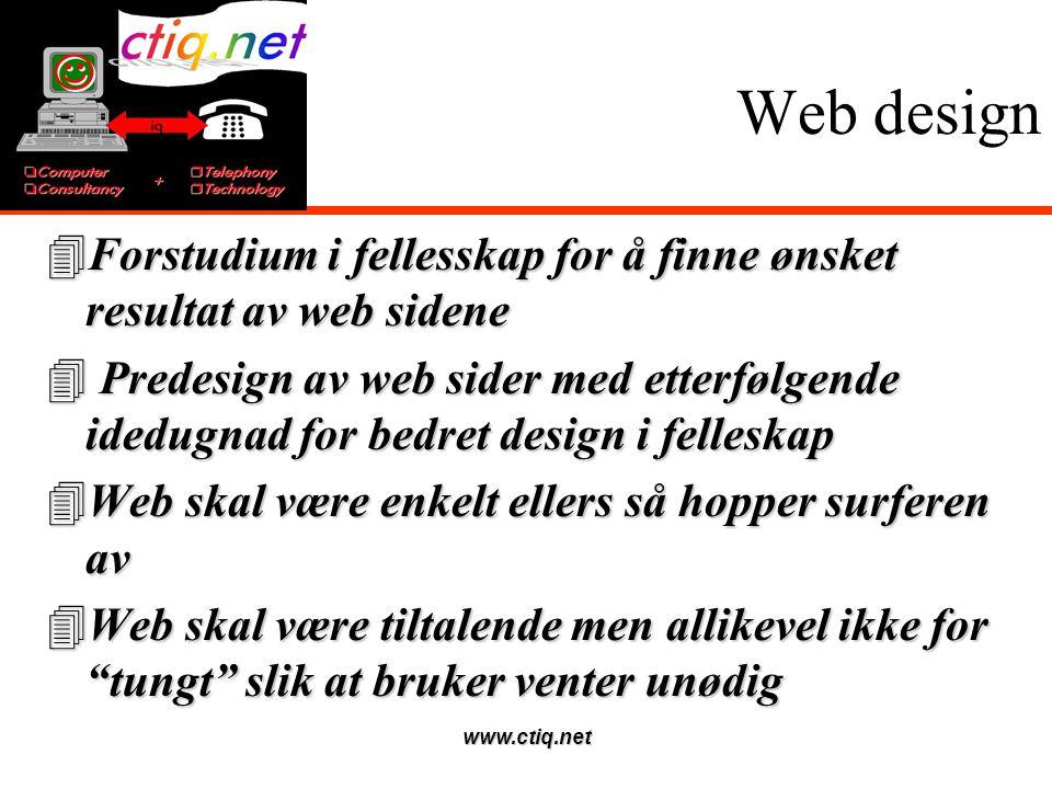 www.ctiq.net Web design 4Forstudium i fellesskap for å finne ønsket resultat av web sidene 4 Predesign av web sider med etterfølgende idedugnad for bedret design i felleskap 4Web skal være enkelt ellers så hopper surferen av 4Web skal være tiltalende men allikevel ikke for tungt slik at bruker venter unødig
