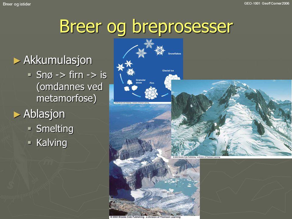 GEO-1001 Geoff Corner 2006 Breer og istider Breer og breprosesser ► Akkumulasjon  Snø -> firn -> is (omdannes ved metamorfose) ► Ablasjon  Smelting
