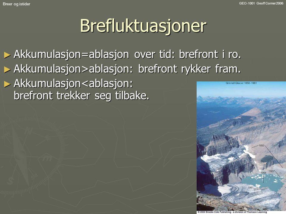 GEO-1001 Geoff Corner 2006 Breer og istiderBrefluktuasjoner ► Akkumulasjon=ablasjon over tid: brefront i ro. ► Akkumulasjon>ablasjon: brefront rykker