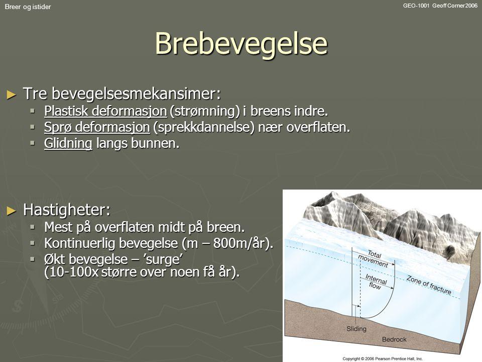 GEO-1001 Geoff Corner 2006 Breer og istiderBrebevegelse ► Tre bevegelsesmekansimer:  Plastisk deformasjon (strømning) i breens indre.  Sprø deformas