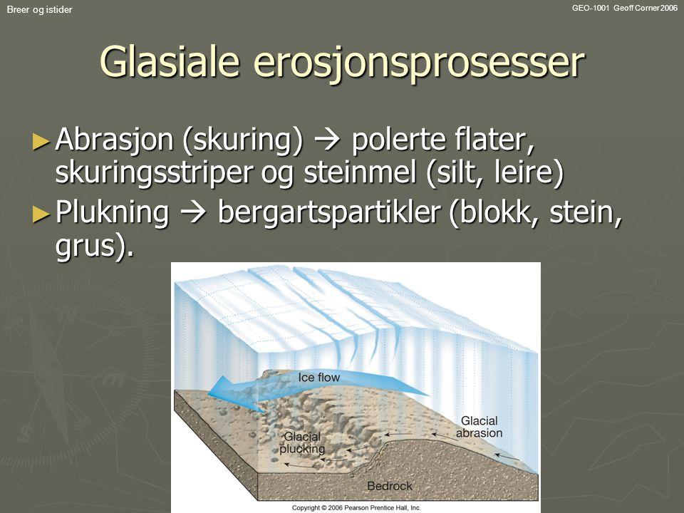 GEO-1001 Geoff Corner 2006 Breer og istider Glasiale erosjonsprosesser ► Abrasjon (skuring)  polerte flater, skuringsstriper og steinmel (silt, leire