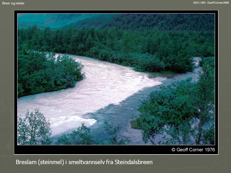 GEO-1001 Geoff Corner 2006 Breer og istider Breslam (steinmel) i smeltvannselv fra Steindalsbreen