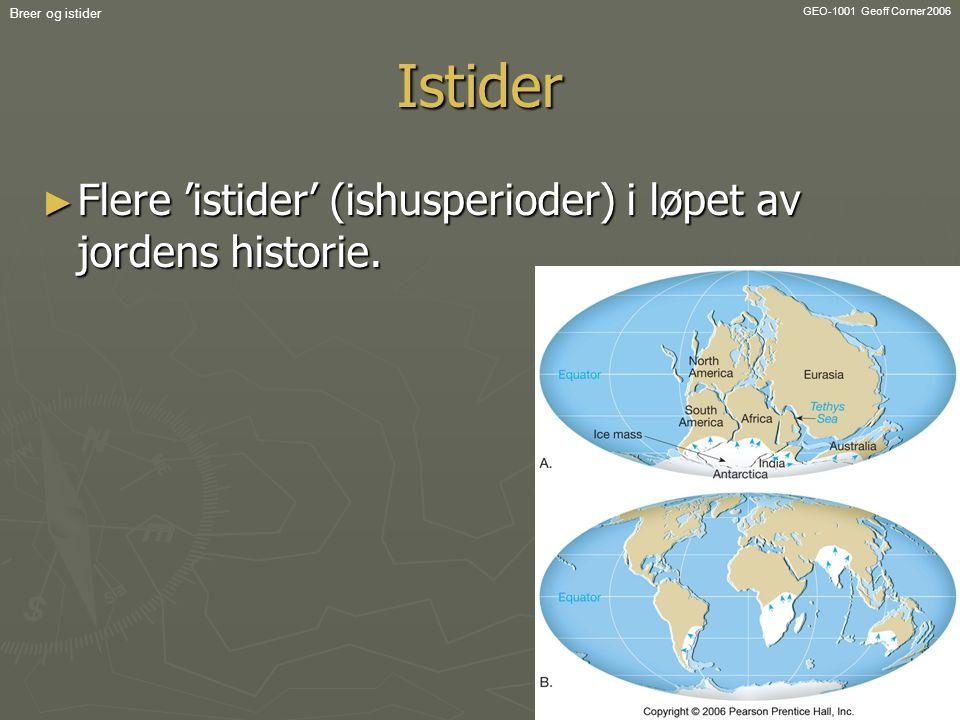 GEO-1001 Geoff Corner 2006 Breer og istiderIstider ► Flere 'istider' (ishusperioder) i løpet av jordens historie.