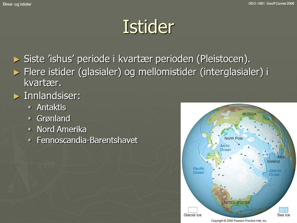 GEO-1001 Geoff Corner 2006 Breer og istiderIstider ► Siste 'ishus' periode i kvartær perioden (Pleistocen). ► Flere istider (glasialer) og mellomistid