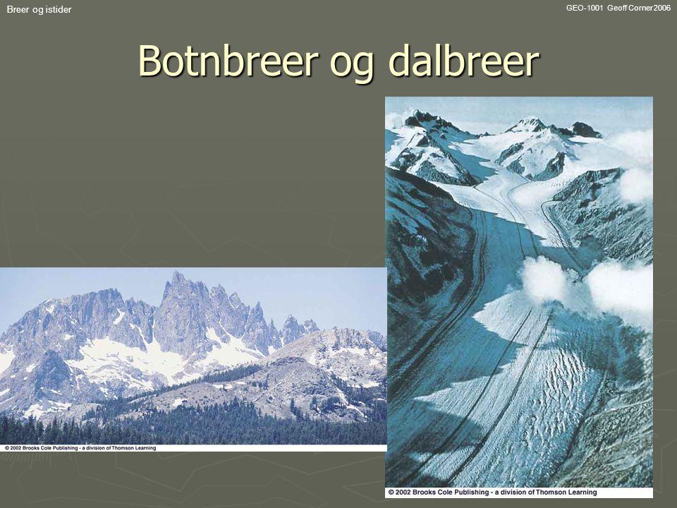 GEO-1001 Geoff Corner 2006 Breer og istider Botnbreer og dalbreer