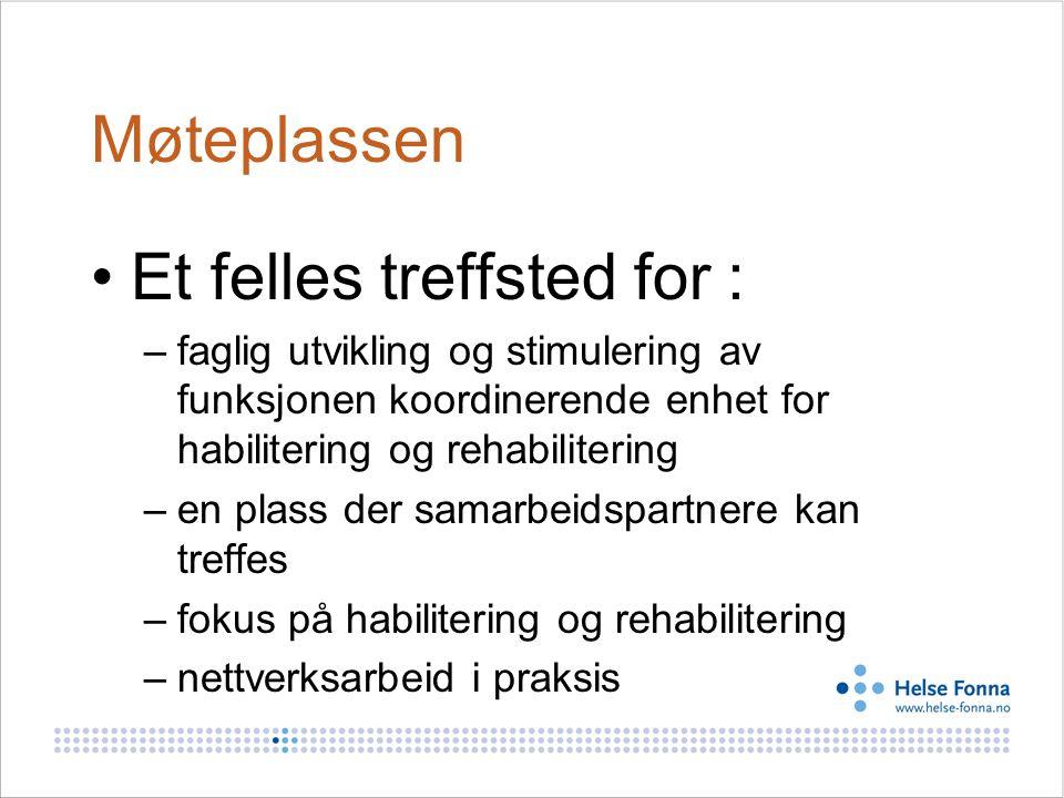Felles strategi i arbeidet med KE- funksjon i Helse Vest •Etablert regionalt og lokalt kontaktnettverk for KE –http://www.helse-bergen.no/omoss/avdelinger/hab- rehab/Sider/enhet.aspxhttp://www.helse-bergen.no/omoss/avdelinger/hab- rehab/Sider/enhet.aspx •Retningslinjer for Møteplassen med lokal tilpasning + arbeidsutvalg