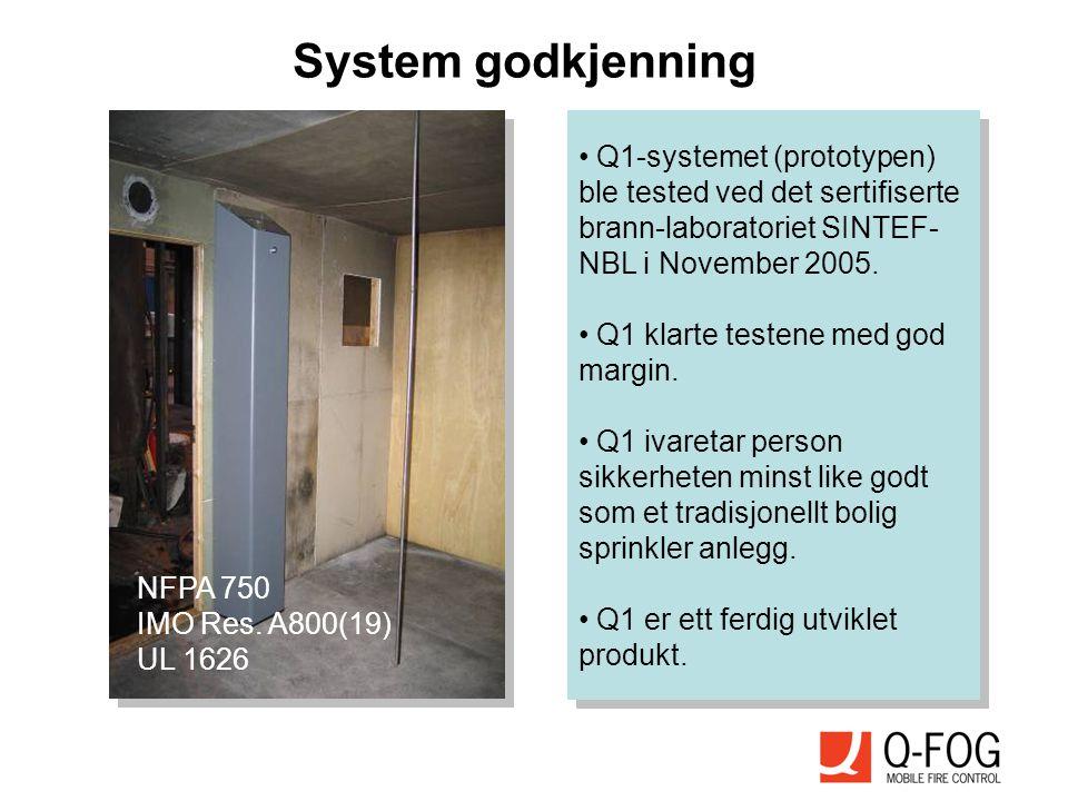 System godkjenning • Q1-systemet (prototypen) ble tested ved det sertifiserte brann-laboratoriet SINTEF- NBL i November 2005. • Q1 klarte testene med