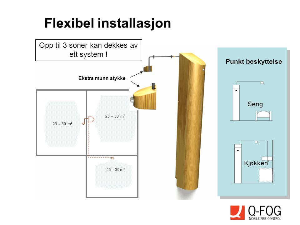 25 – 30 m² Ekstra munn stykke Opp til 3 soner kan dekkes av ett system ! Flexibel installasjon Seng Kjøkken Punkt beskyttelse