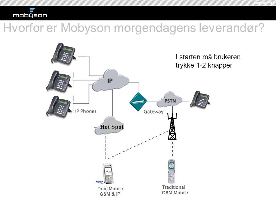 Hvorfor er Mobyson morgendagens leverandør? Confidential Hot Spot Dual Mobile GSM & IP Traditional GSM Mobile I starten må brukeren trykke 1-2 knapper