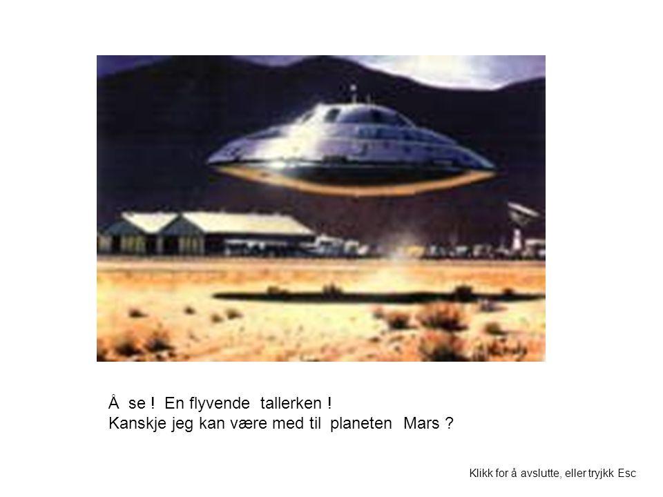 Å se ! En flyvende tallerken ! Kanskje jeg kan være med til planeten Mars ? Klikk for å avslutte, eller tryjkk Esc