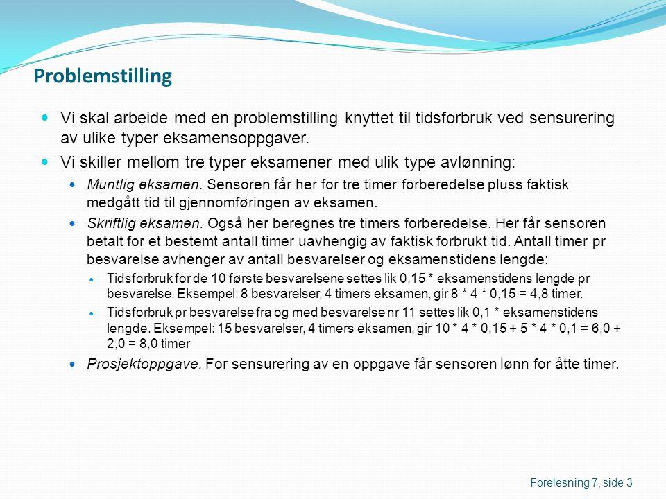 Problemstilling  Vi skal arbeide med en problemstilling knyttet til tidsforbruk ved sensurering av ulike typer eksamensoppgaver.