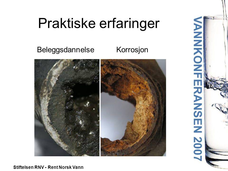 Stiftelsen RNV - Rent Norsk Vann Beleggsdannelse Korrosjon Praktiske erfaringer