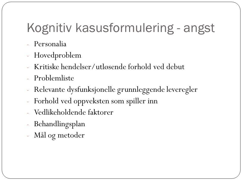 Kognitiv kasusformulering - angst - Personalia - Hovedproblem - Kritiske hendelser/utløsende forhold ved debut - Problemliste - Relevante dysfunksjone