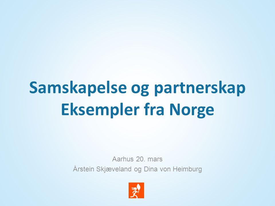 Samskapelse og partnerskap Eksempler fra Norge Aarhus 20. mars Årstein Skjæveland og Dina von Heimburg